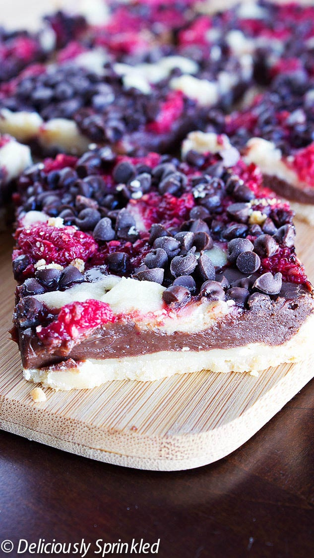 Dark Chocolate Raspberry Pie Bars