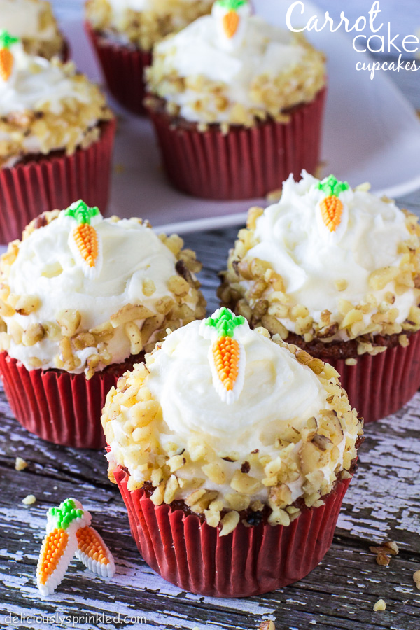 Carrot Cake Cupcakes with Cream Cheese Frosting by Deliciously Sprinkled