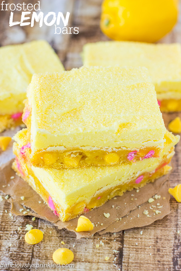 Easy Lemon Bars Frosted with Lemon Frosting Recipe by Deliciously Sprinkled