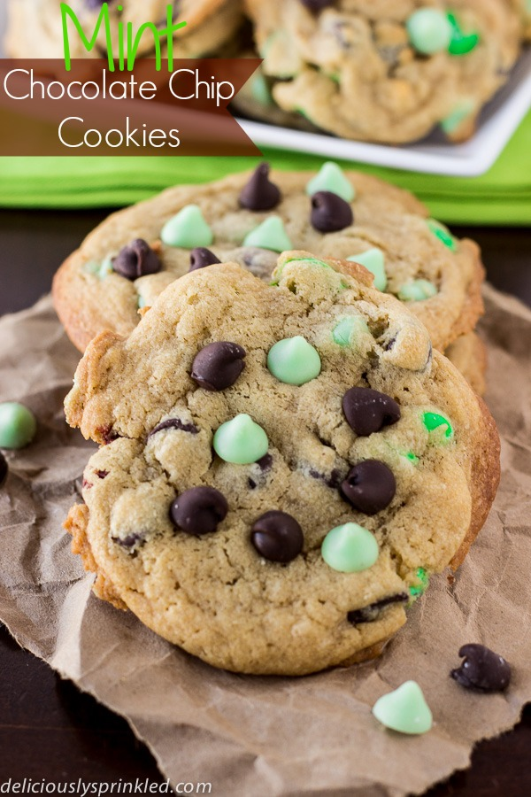 Mint Chocolate Chip Cookies by deliciouslysprinkled.com