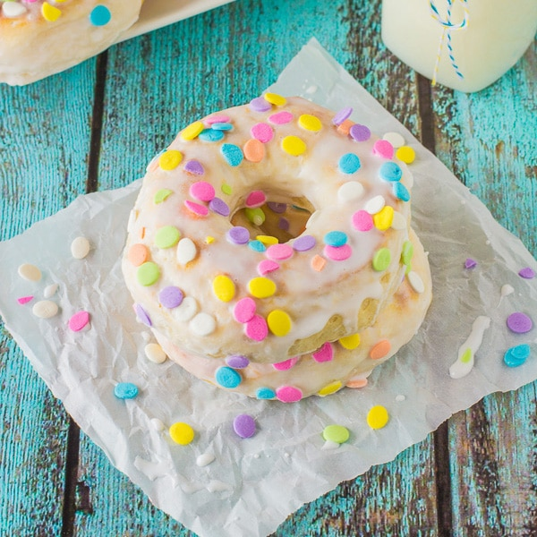 easy baked donuts with vanilla glazed icing