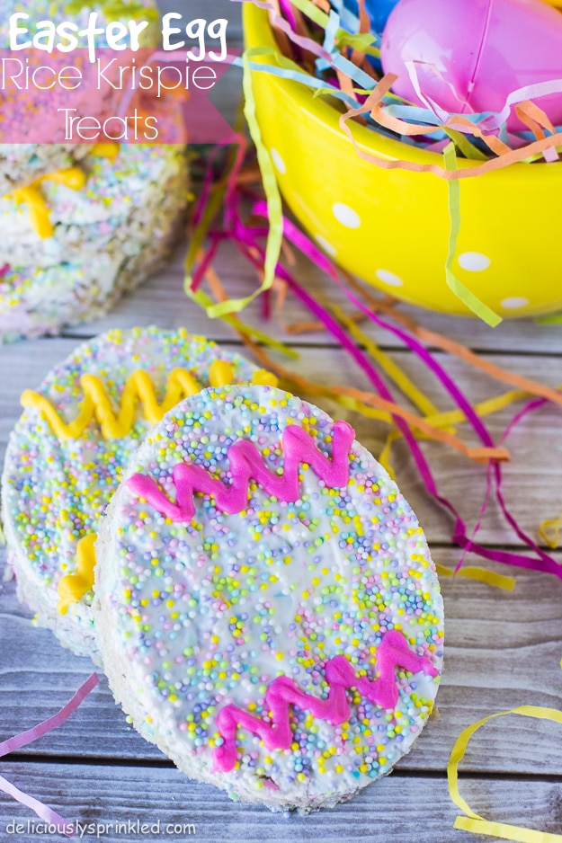 Easter Egg Rice Krispie Treats on Deliciously Sprinkled