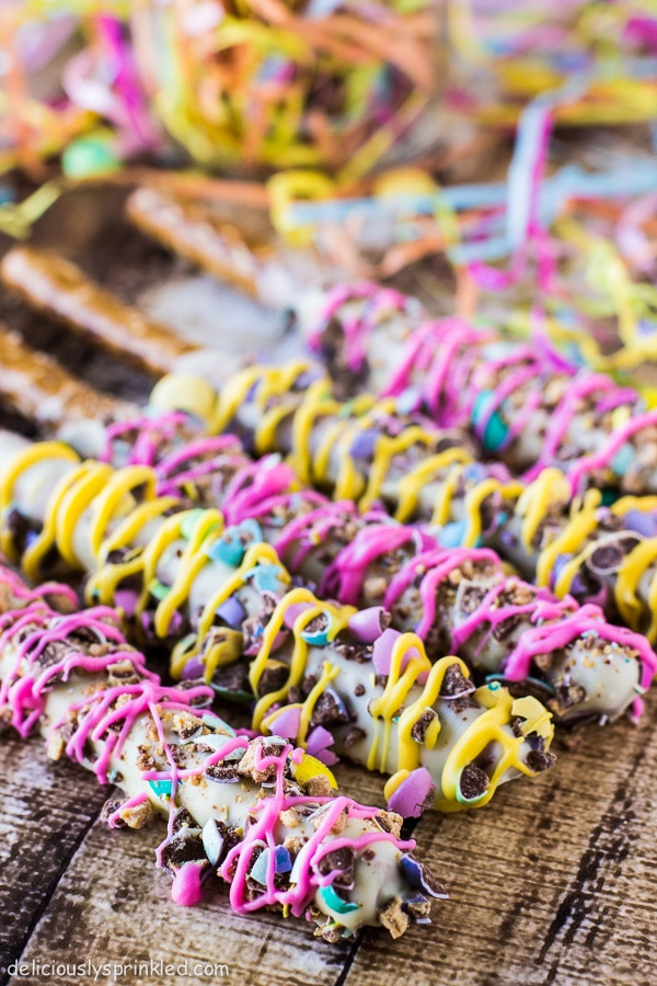 Spring Chocolate Covered Pretzels Deliciously Sprinkled