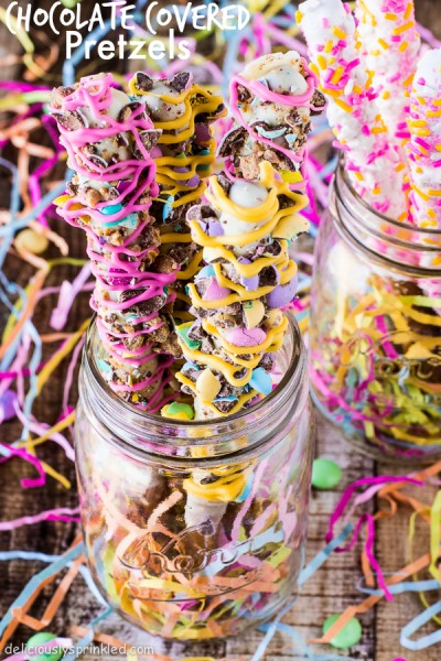 Spring Chocolate Covered Pretzels by Deliciously Sprinkled.jpg