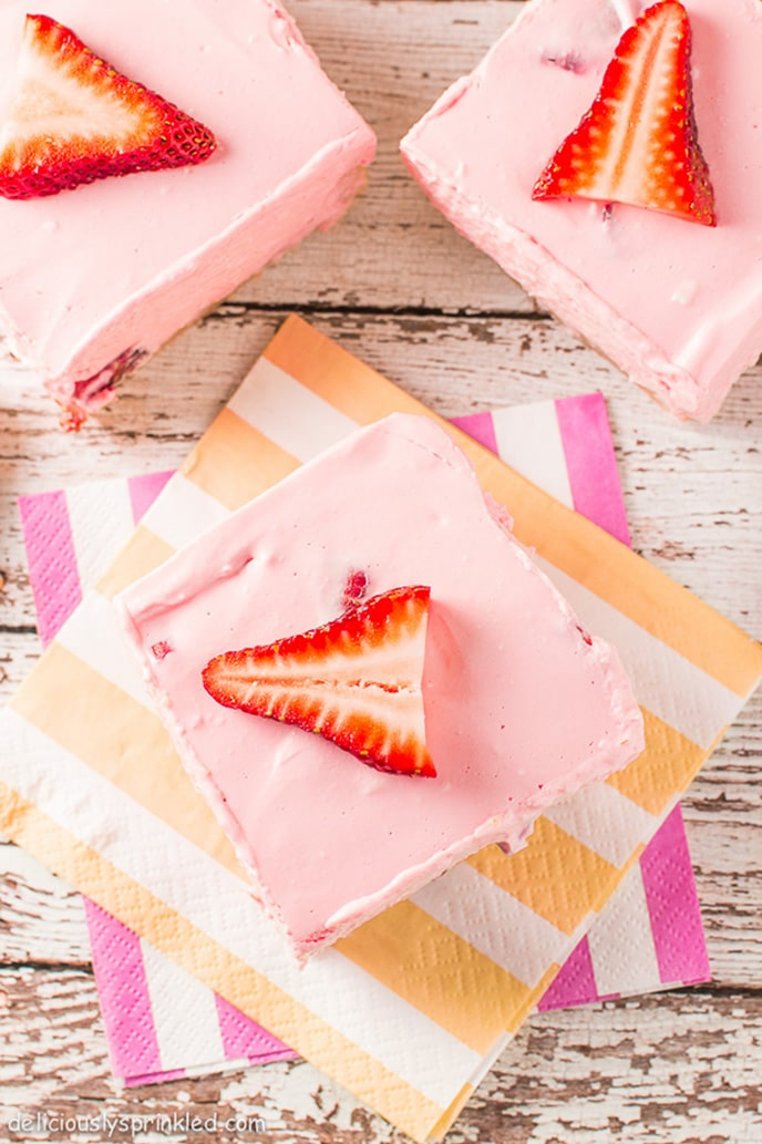 Strawberry Cheesecake Bars Deliciously Sprinkled