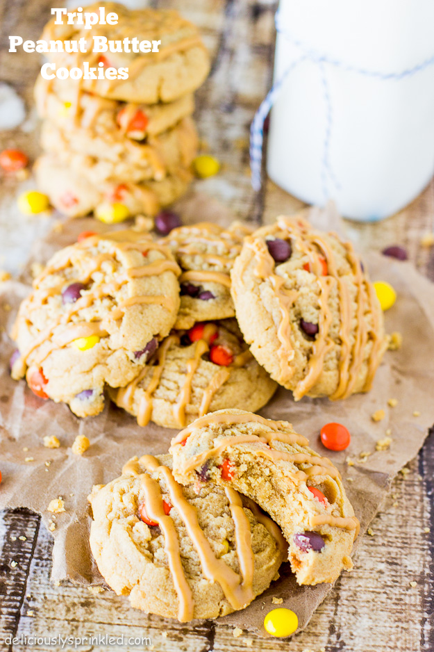 Triple Peanut Butter Cookies by Deliciously Sprinkled.jpg
