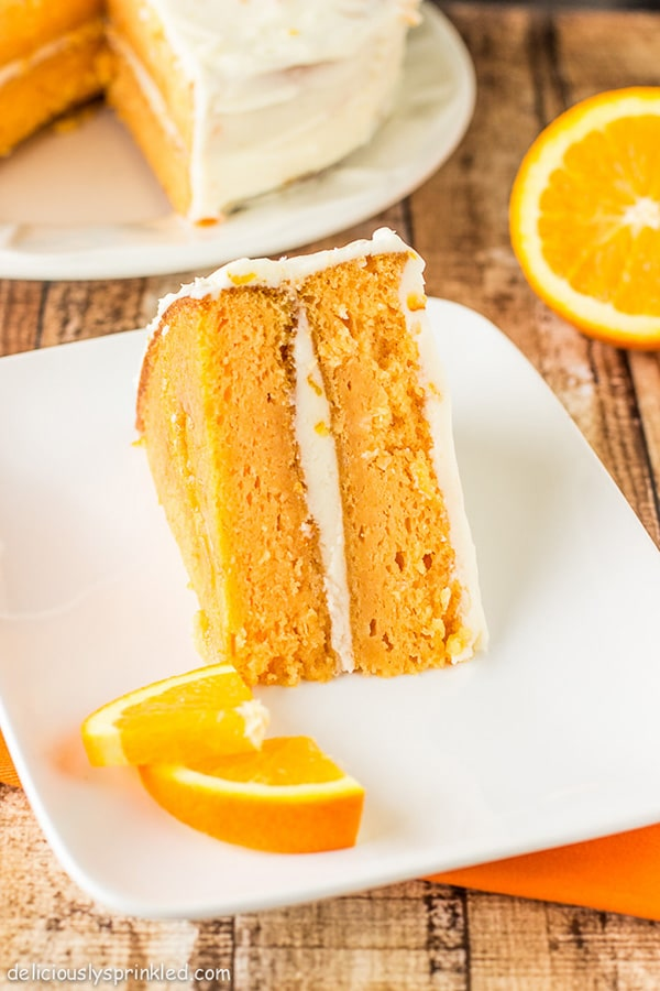 orange creamsicle cake on plate
