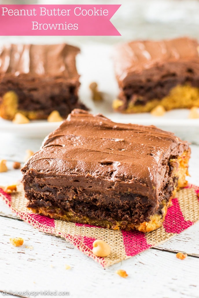 Deliciously Sprinkled Peanut Butter Cookie Brownies | Deliciously ...