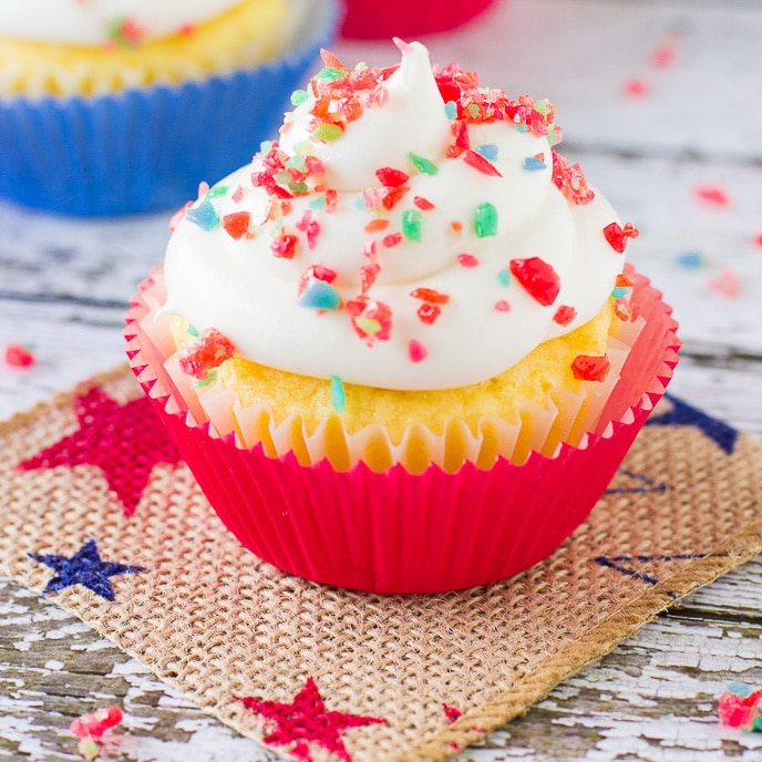 Vanilla Firecracker Cupcakes
