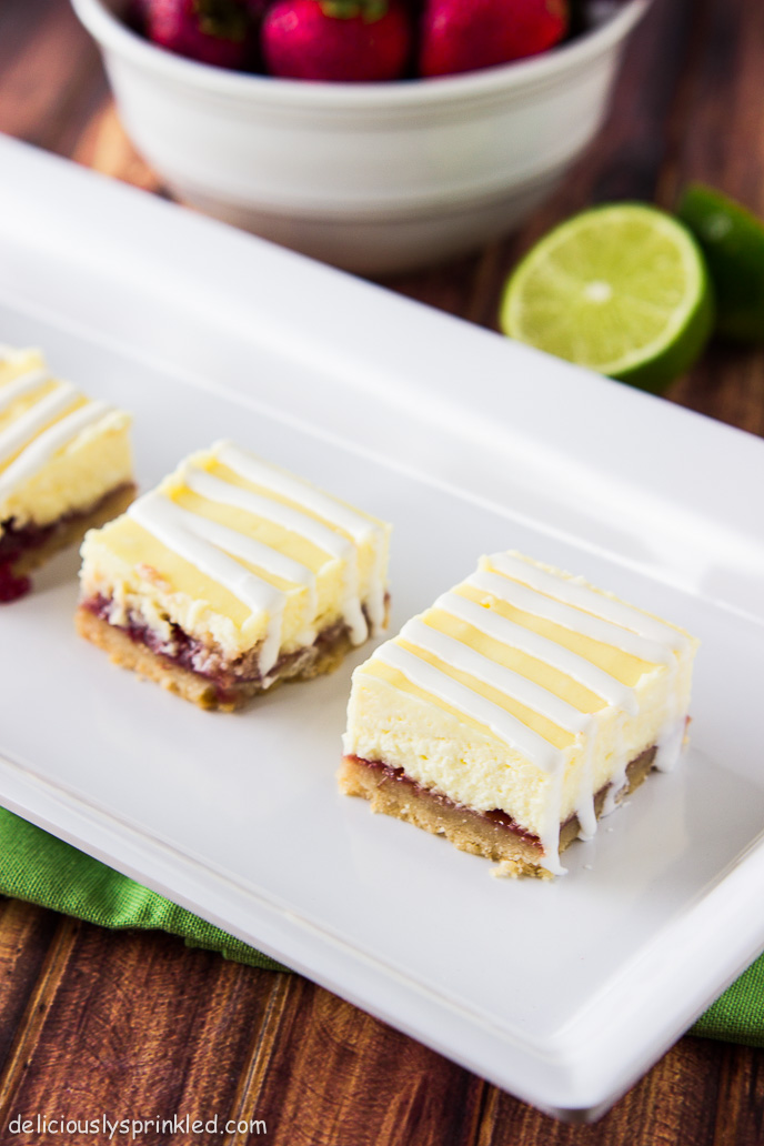 Strawberry Lime Cheesecake Bars