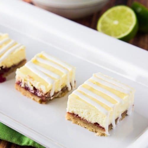 Strawberry Lime Cheesecake Bars