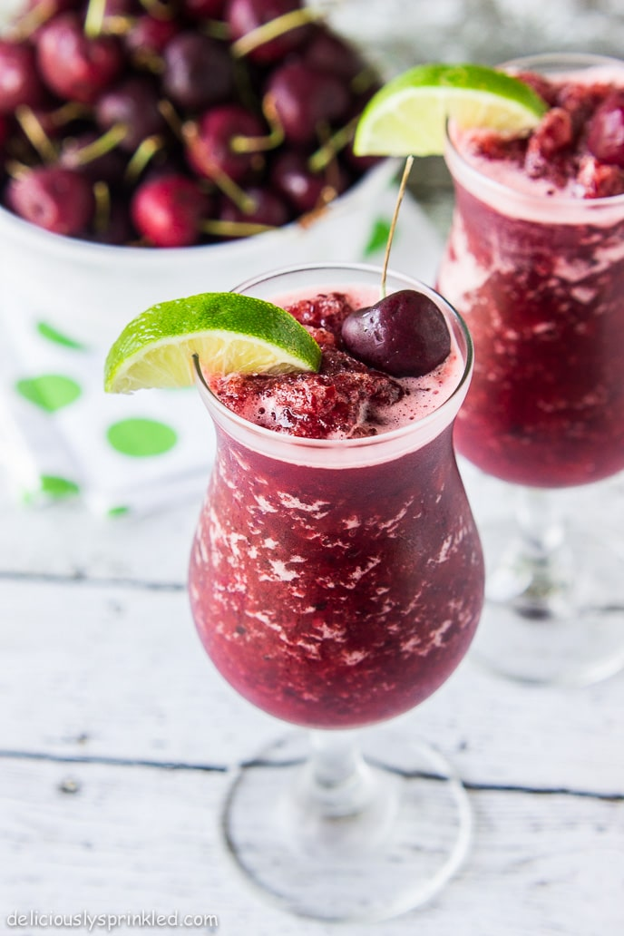 Skinny Cherry Limeade Slushies – Deliciously Sprinkled