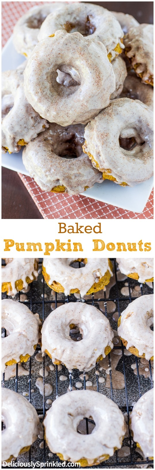 Baked Pumpkin Donuts with Cinnamon Glaze