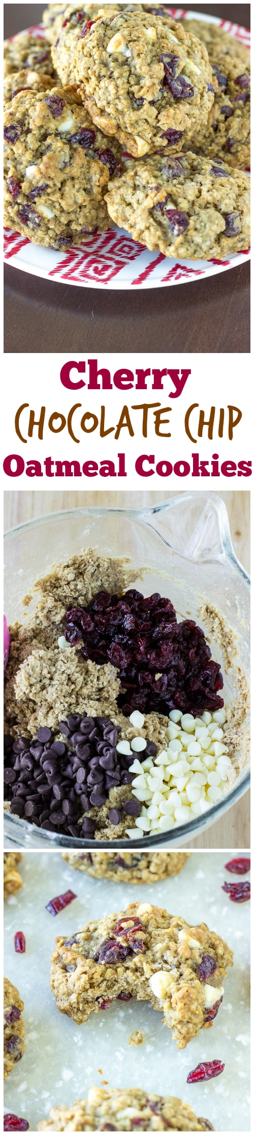 Cherry Chocolate Chip Oatmeal Cookies - Deliciously Sprinkled