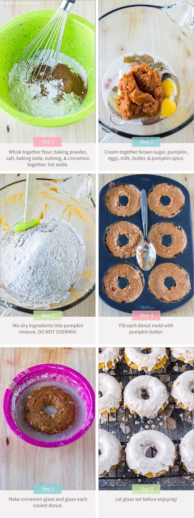 My favorite Baked Pumpkin Donuts with Cinnamon Glaze make a perfect fall breakfast treat. Recipe by deliciouslysprinkled.com