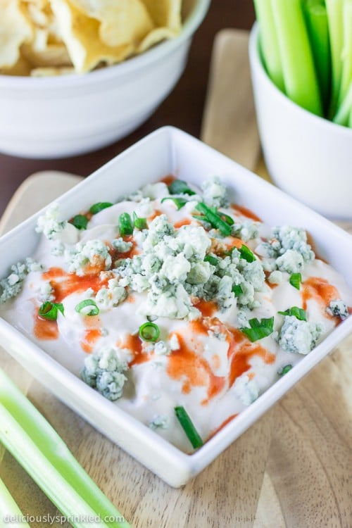 Buffalo Bleu Cheese Dip, Appetizer, Easy Dip Recipe, Football Party Appetizers. Recipe by deliciouslysprinkled.com
