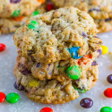 These Monster Cookies are oatmeal cookies with chocolate chips, M&Ms, and toffee bites.