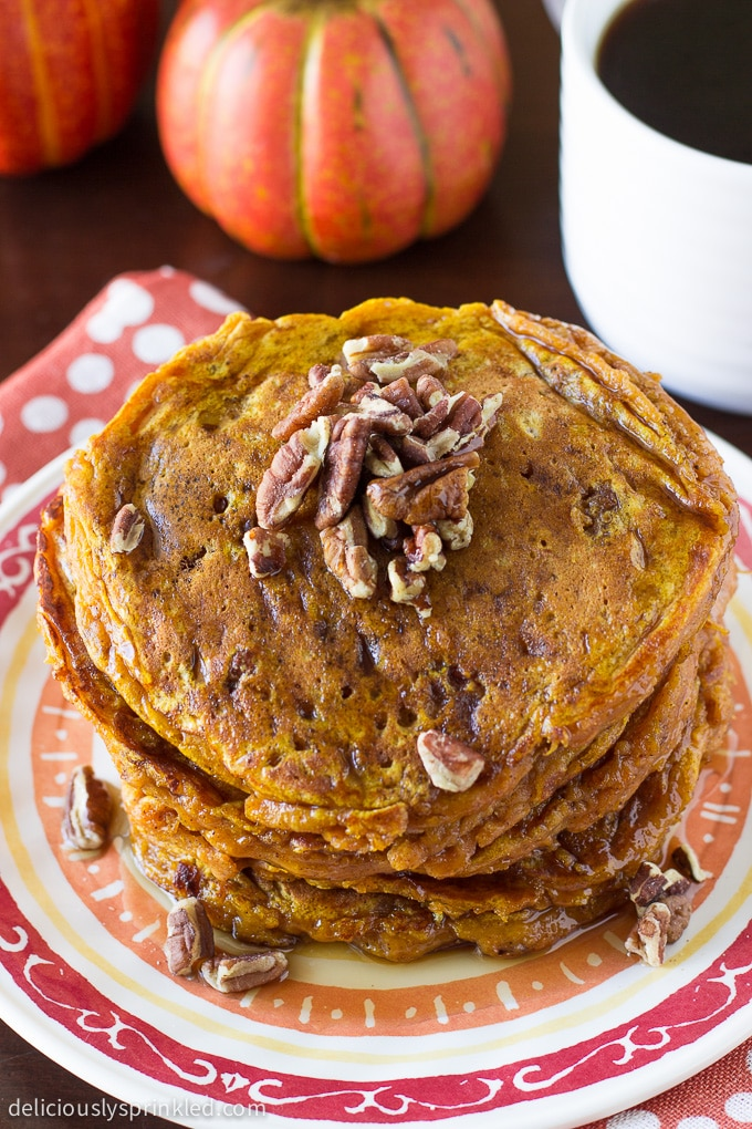 Pumpkin Spice Buttermilk Pancakes. Recipe by deliciouslysprinkled.com
