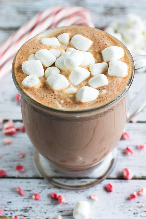 Homemade Peppermint Hot Chocolate recipe, perfect for Christmas.