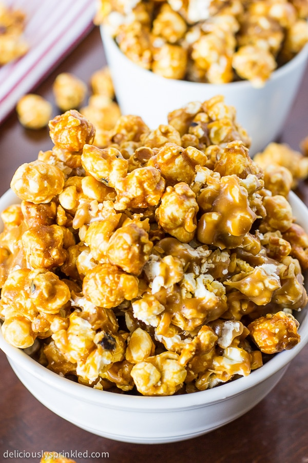 Oven Baked Caramel Corn Deliciously Sprinkled