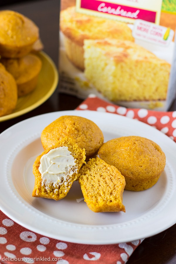Pumpkin Spice Cornbread Muffins using Fleischmeann's Cornbread Baking Mix