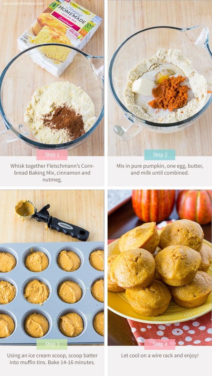 Pumpkin Spice Cornbread Muffins using Fleischmeann's Cornbread Baking Mix