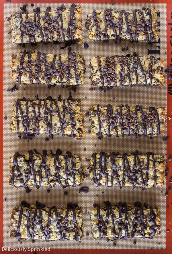 Chocolate Chip Oatmeal Raisin Bars, and easy oatmeal bar recipe.