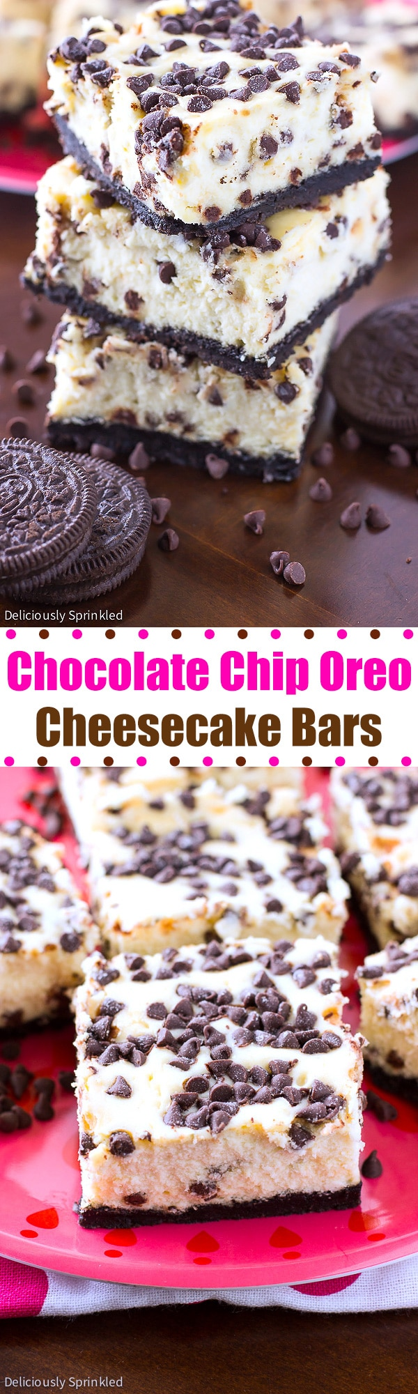 Chocolate Chip Oreo Cheesecake Bars Deliciously Sprinkled