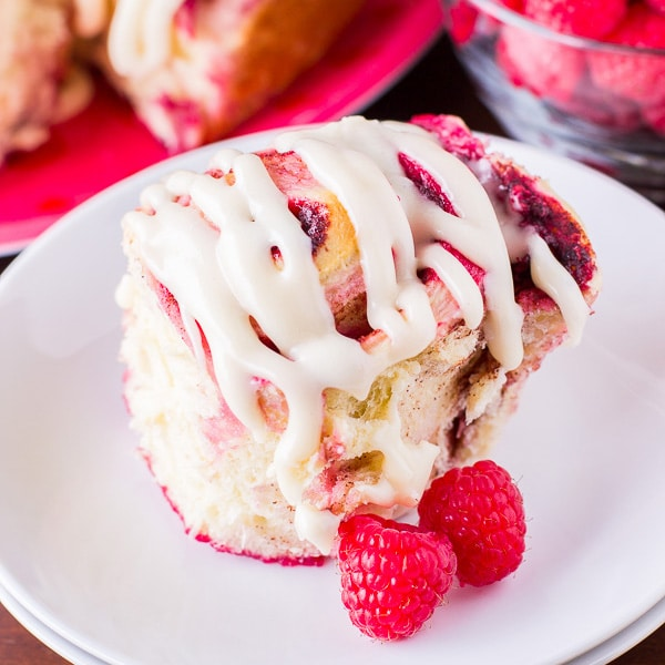 Homemade Raspberry Cinnamon Rolls with Cream Cheese Frosting
