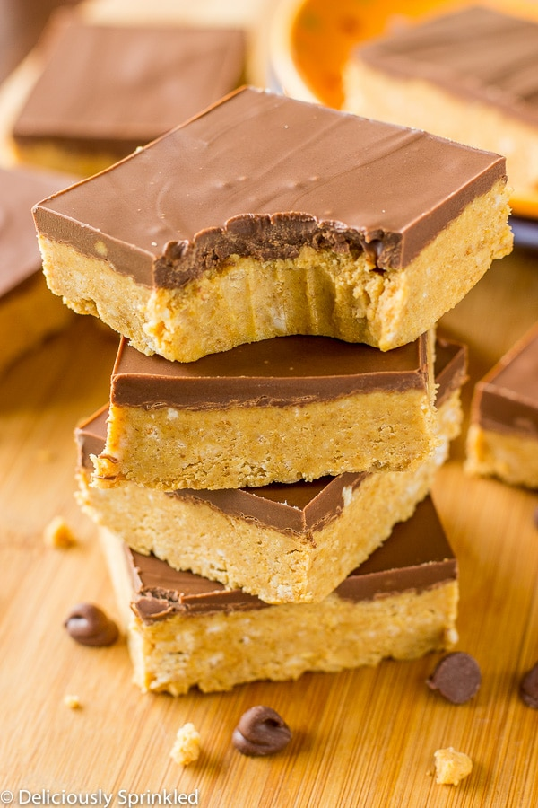 No Bake Chocolate Peanut Butter Bars Deliciously Sprinkled
