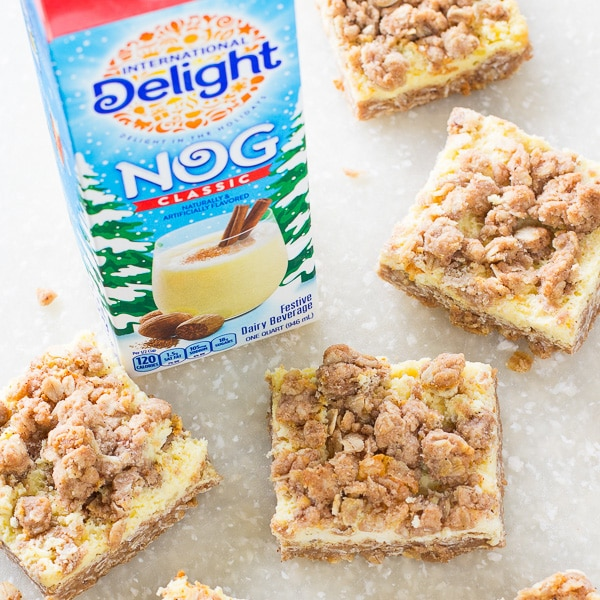 Eggnog Cheesecake Bars