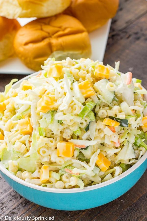 Macaroni Salad with cheese and coleslaw