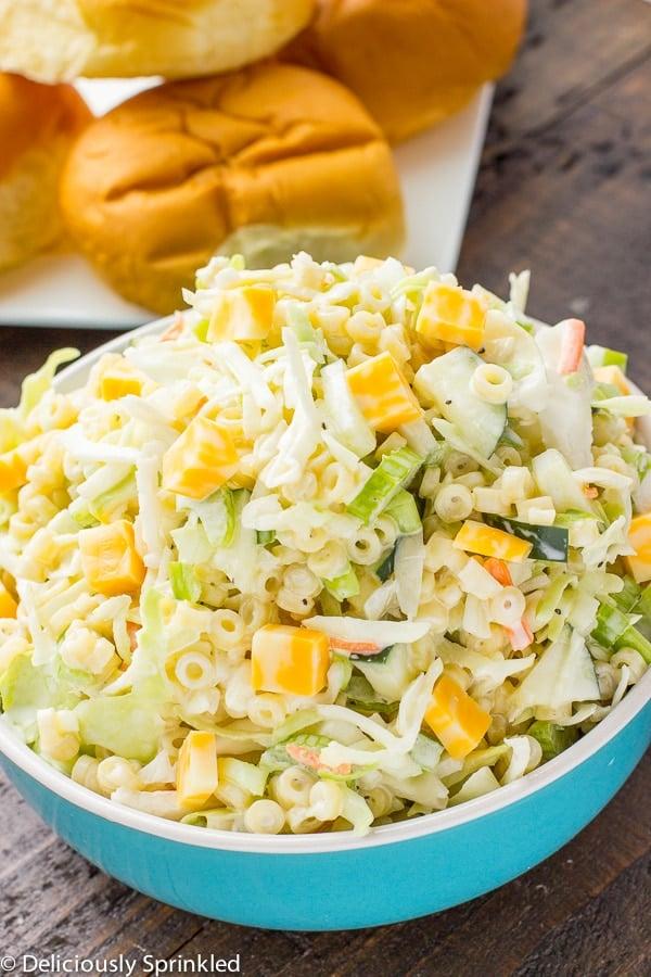Macaroni Salad with cheese and coleslaw