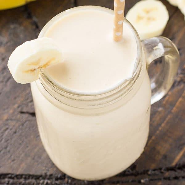 Banana Smoothie Recipe made with bananas, almond milk, yogurt.