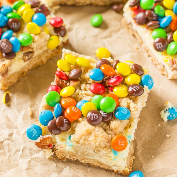 M&M Cookie Bars-easy to make cookie bar recipe filled with M&M candy.