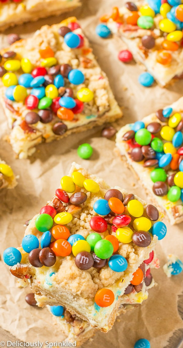 M&M Cookie Bars-thick, chewy M&M cookie bar that's easy to make!