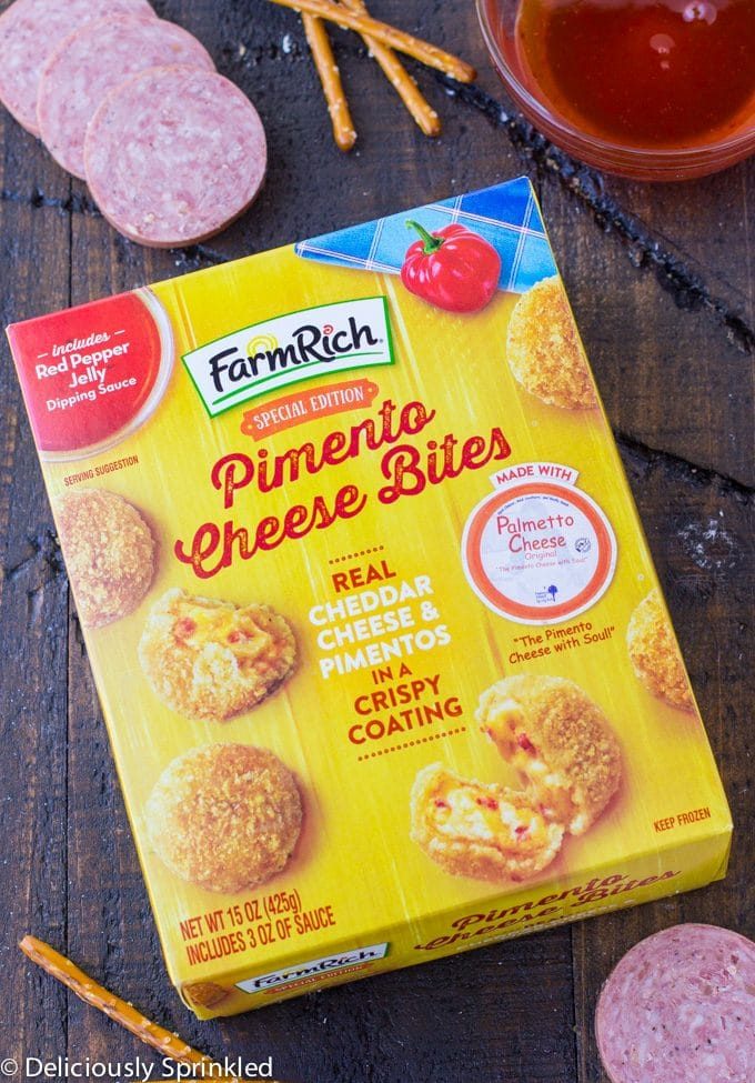 Pimento Cheese and Sausage Bites- easy holiday party appetizer using Farm Rich Pimento Cheese Bites