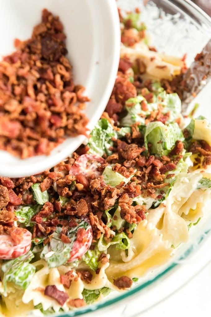 BLT pasta salad add bacon