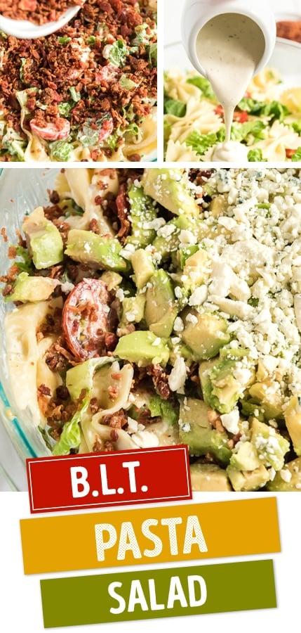 BLT pasta salad pin image