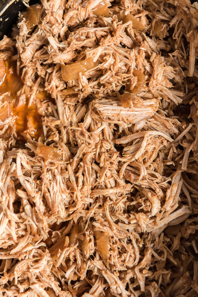 closeup of finished pulled pork