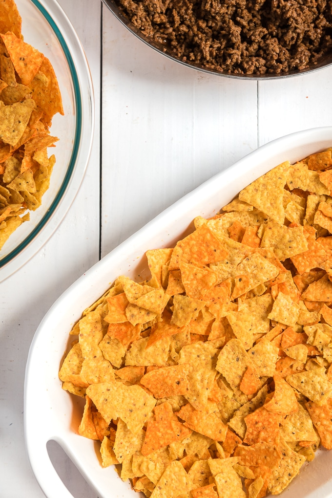 Doritos taco casserole add chips