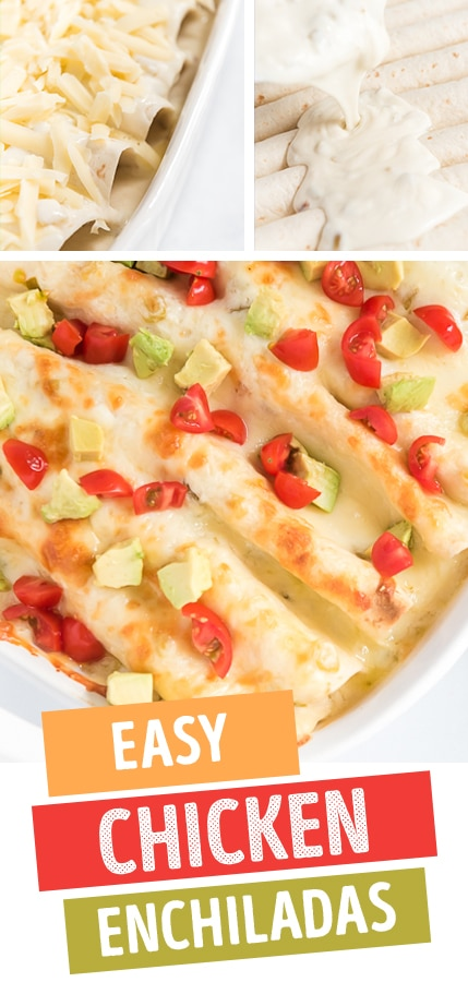 easy chicken enchiladas pin image collage