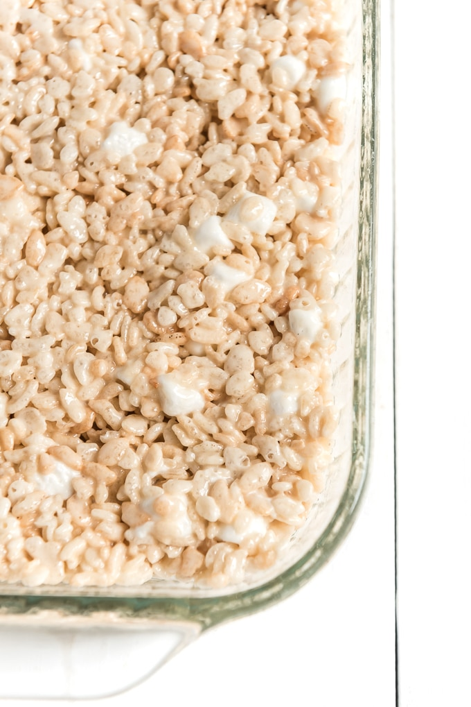 add rice krispie treats to pan