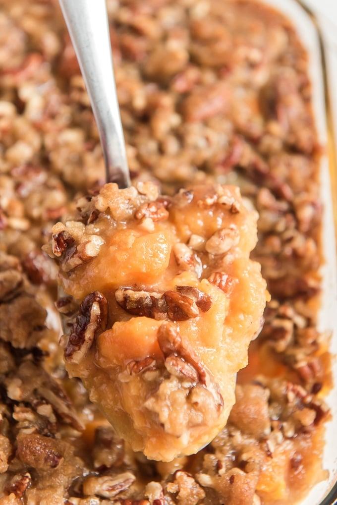 sweet potato casserole on spoon