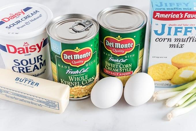 corn casserole recipe ingredients on table