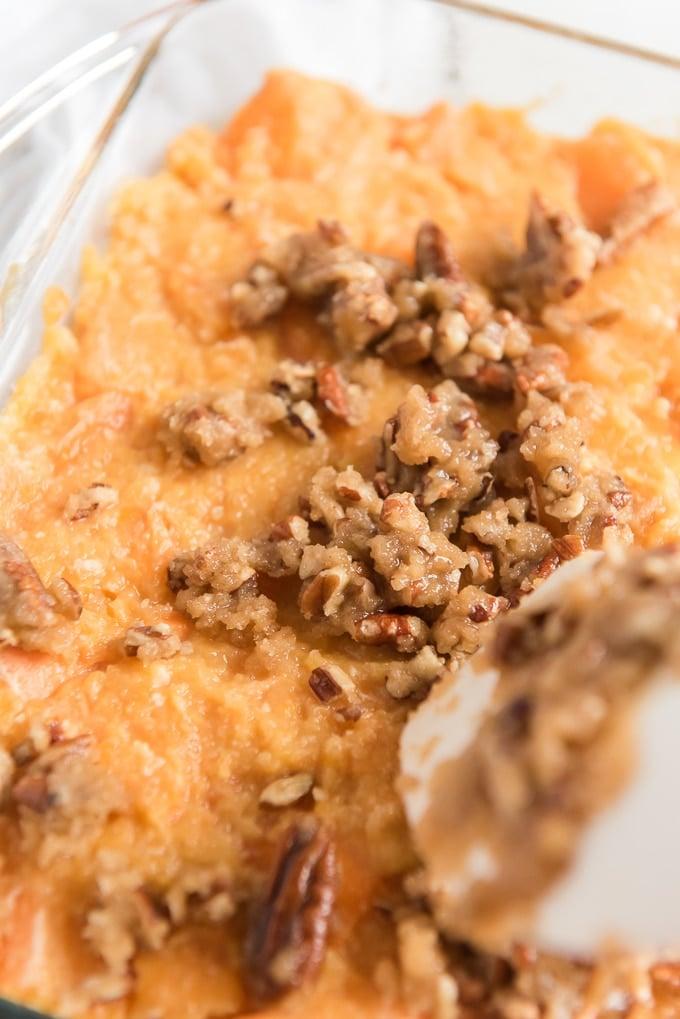 add topping to sweet potato casserole