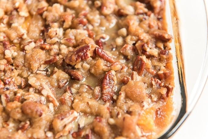 sweet potato casserole in pan