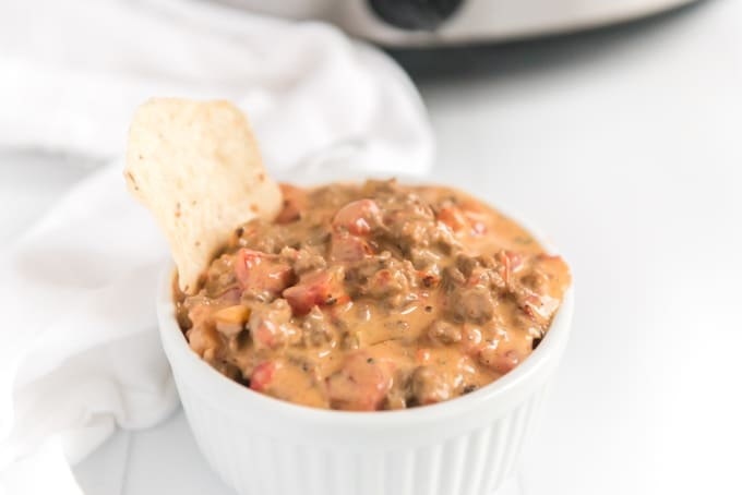 queso dip in dish