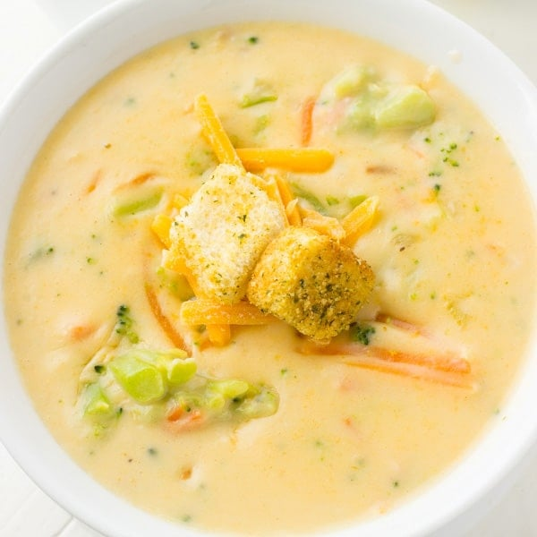 SLOW COOKER BROCCOLI CHEDDAR SOUP | Deliciously Sprinkled