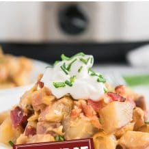cheesy ranch potatoes collage with text that reads crockpot cheesy ranch potatoes